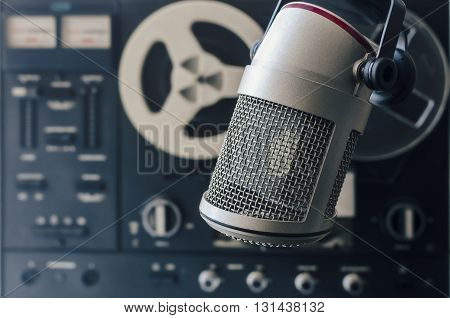 for radio stations: professional microphone and tape recorder