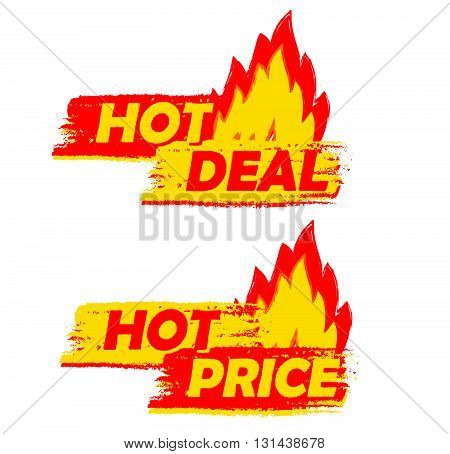 hot deal and price on fire banners - text in yellow and red drawn labels with flames signs, business shopping concept, vector