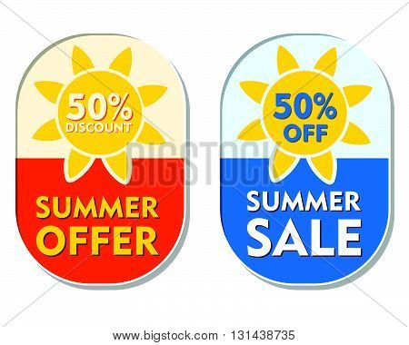 summer offer and sale 50 percent off discount text banners, two elliptic flat design labels with sun signs, business seasonal shopping concept, vector