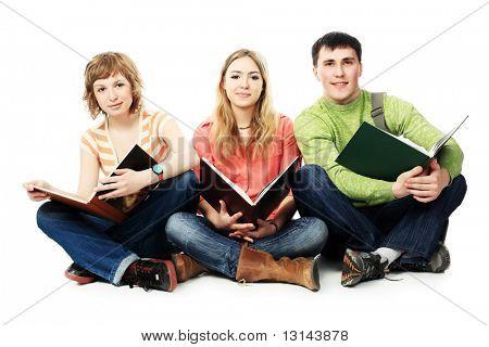 Tema educativo: Grupo de estudio de estudiantes junto.