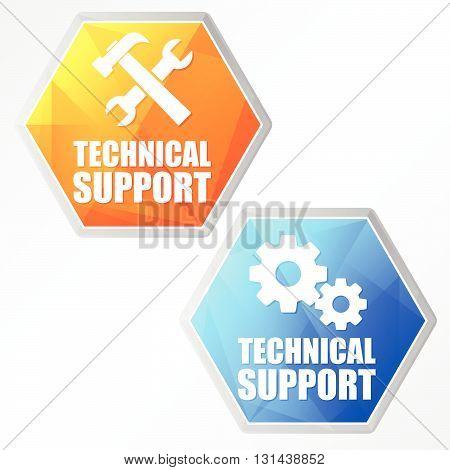 technical support with tools sign and gear wheels - two colors hexagons web icons with symbols, flat design, business service concept, vector
