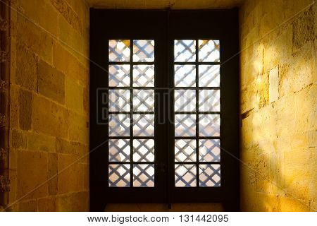 Window in the Templar Church in the Portugal City of Tomar