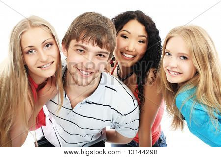 Group of a modern young people. Fashion, education, holidays.