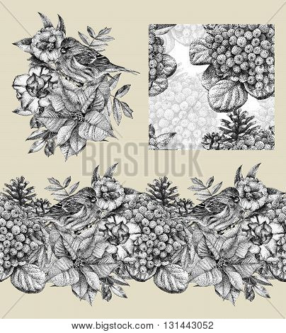 Set of border pattern and illustration with different flowers birds and plants drawn by hand with black ink. Graphic drawing pointillism technique. Set of floral elements to create compositions