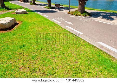 Bicycle Track along the Yarkon river in Tel Aviv Israel poster