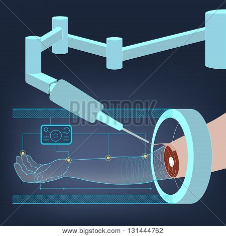 Medical abstract background with an illustration of the operation of the robot-surgeon on hand. Regeneration and restoration of human tissues and body parts. Model of a human hand. Vector