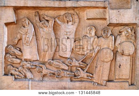 KLEINOSTHEIM, GERMANY - JUNE 08: Slaughter of the innocents, Saint Lawrence church in Kleinostheim, Germany on June 08, 2015.