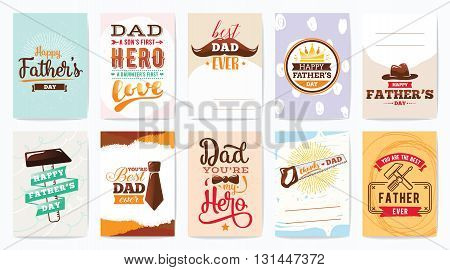 Happy fathers day greeting cards set. Vector typography and lettering. Usable for banners, print. You are the best dad.