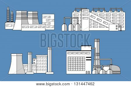 Factory set isolated on blue background. Factory icon in the flat style. Industrial factory building. Manufacturing power factory building. Decorative factory icon. Factory concept. Vector illustration.