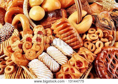 Bakery foodstuffs. Shot in a studio.