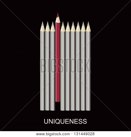 Red unique different pencil. Leader, leadership, individuality, ambition, uniqueness, success. Vector illustration.