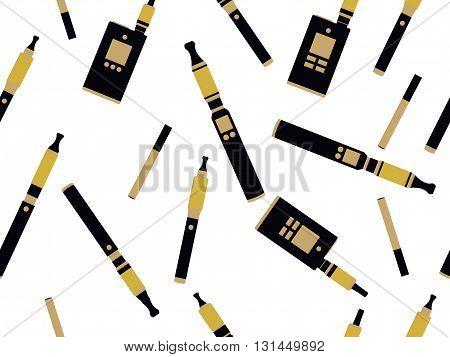 Electronic Cigarettes Seamless Pattern, E-cigarette Seamless Pattern, Smoking Electronic Cigarette,
