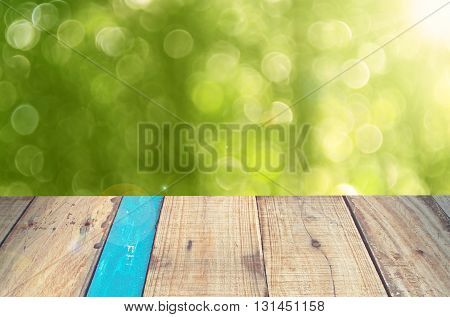 Nature Green Bokeh Sun Light On Old Empty Wood Table Background.