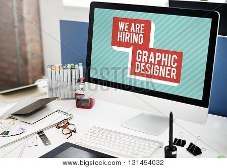 We are Hiring Job Application Creative Occupation Designer Concept