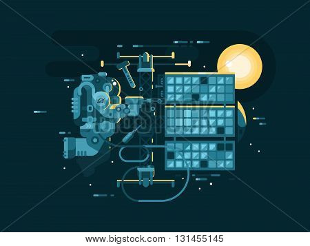 Astronaut repairing in space. Cosmonaut in universe, spaceman outer, vector illustration