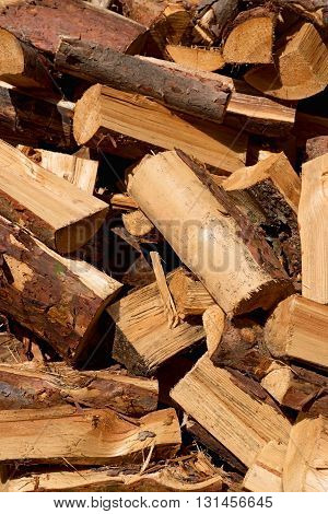 A Pile Of Chopped And Cut Wood