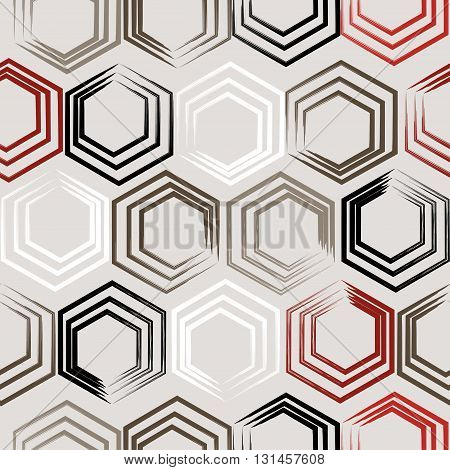 Cute Vector Geometric Seamless Pattern. Brush Strokes, Hexagon. Hand Drawn Grunge Texture. Abstract