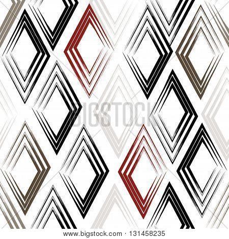 Cute Vector Geometric Seamless Pattern. Brush Strokes, Rhombus. Hand Drawn Grunge Texture. Abstract