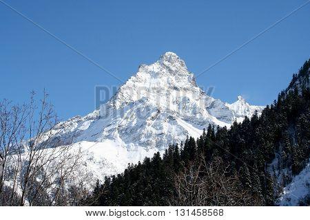 In the mountains of Dombai Caucasus Russia
