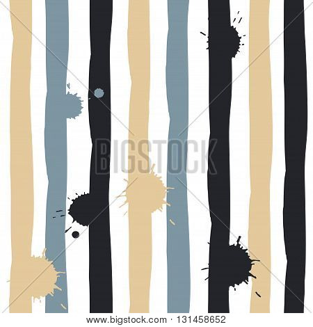 Cute Vector Geometric Seamless Pattern. Brush Strokes And Blots.  Abstract Forms. Endless Texture Ca