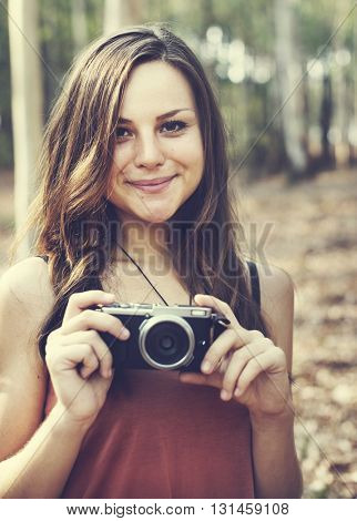 Photographer Camera Camping Trip Activity Concept