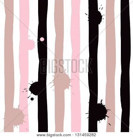 Cute Vector Geometric Seamless Pattern. Brush Strokes And Blots. Hand Drawn Grunge Texture. Abstract