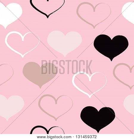 Cute Vector Geometric Seamless Pattern. Brush Strokes, Hearts. Hand Drawn Grunge Texture. Abstract F
