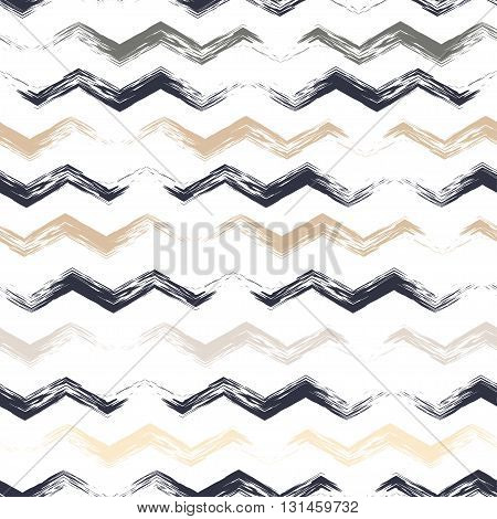 Cute Vector Geometric Seamless Pattern. Brush Strokes, Wavy Lines. Hand Drawn Grunge Texture. Abstra