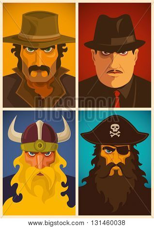 Various portraits of men characters. Vector illustration.