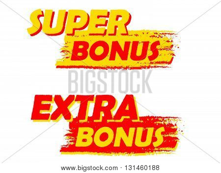 super and extra bonus banners - text in yellow and red drawn labels, business shopping concept, vector