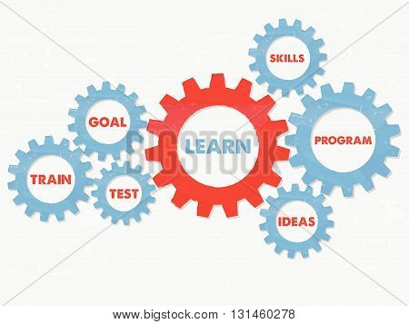 learn, goal, train, test, skills, program, ideas - business education motivation concept words - red blue text in grunge flat design gear wheels, vector