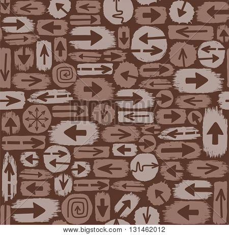 Arrows seamless pattern, brown. Vector brown background, the brown spots are the arrows. Color, flat, seamless background for decorating.
