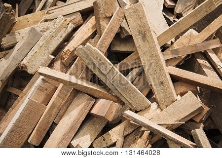 Pile of small pieces of scrap wood.
