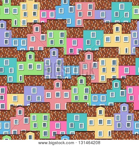 Seamless pattern with colorful houses in a row superimposed on each other