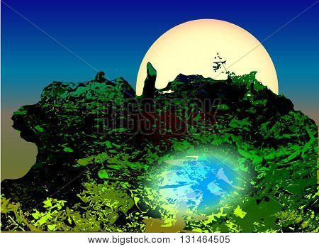 Landscape with green swamp, pond and moonlight. Natural wetland with silhouettes of plants