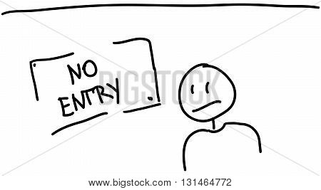 Sketch Of Text No Entry