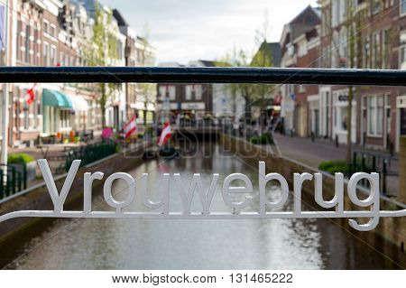 Bridge over Turfmarkt canal in the city of Gouda South Holland Netherlands