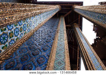 Wat Phra Kaew un-unsual architectural detail, Bangkok, Thailand. Worm's eye view