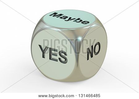 yes no maybe dice 3D rendering isolated on white background
