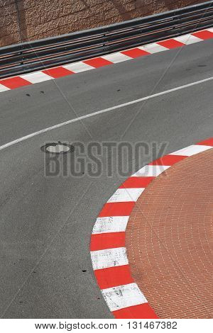 Texture of Motor Race Asphalt and Curb on Monaco Montecarlo Grand Prix Street