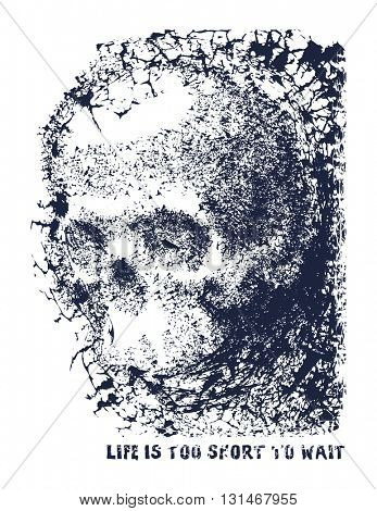 Black and white human skull. Hand drawn vector illustration