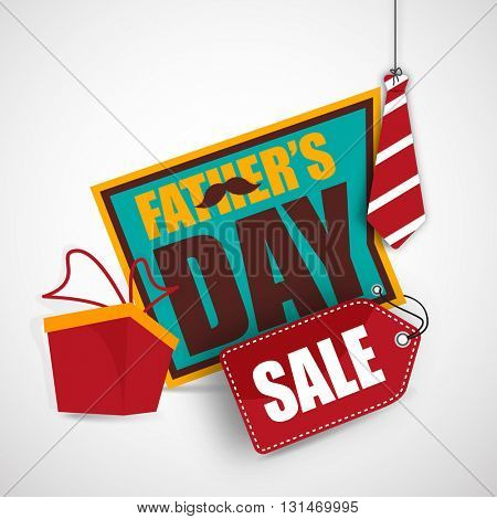 Paper Sale Tag, Sale Banner, Sale Poster with illustration of hanging tie and wrapped gift box for Happy Father's Day celebration.
