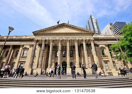 Melbourne Australia - October 24 2015: People outside State Library of Victoria in Melbourne. The library is the central library of the state of Victoria and one of tourist attraction in Melbourne.