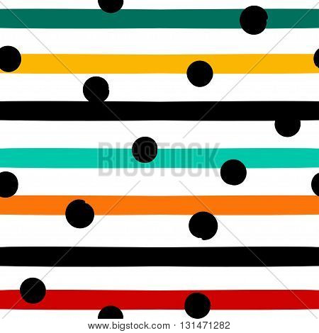 Cute Vector Geometric Seamless Pattern . Polka Dots And Stripes. Brush Strokes. Hand Drawn Grunge Te