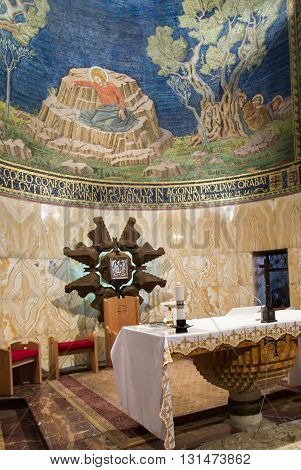 JERUSALEM ISRAEL - JULY 13 2015: The mosaic ceiling in The Church of All Nations (Basilica of the Agony) designed by Pietro D'Achiardi (1922 - 1924).