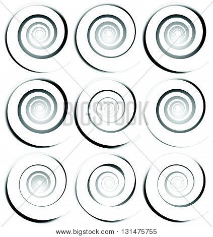 Spiral Shapes, Elements. Abstract Monochrome Background Set