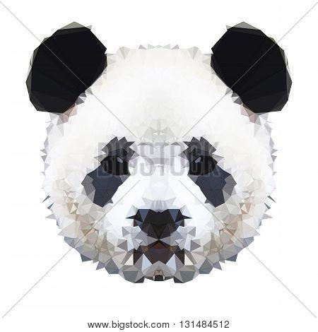 Digital low poly panda bear with cute face