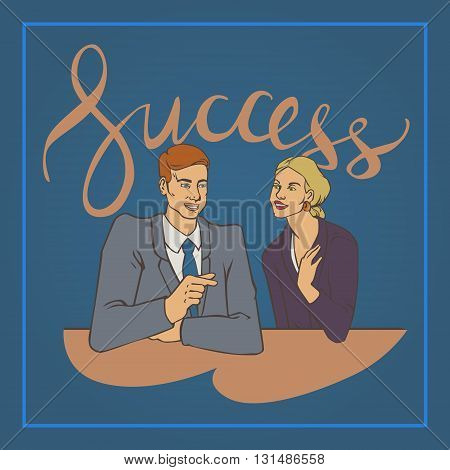 Vector illustration with groupe of office people man and woman talking with handwriting lettering word success