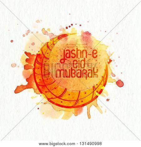 Creative Crescent Moon on abstract splash background for Muslim Community Festival, Jashn-E-Eid celebration.