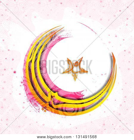 Golden Arabic Islamic Calligraphy of Text Eid Mubarak in crescent moon and star shape on abstract background for Muslim Community Festival celebration.